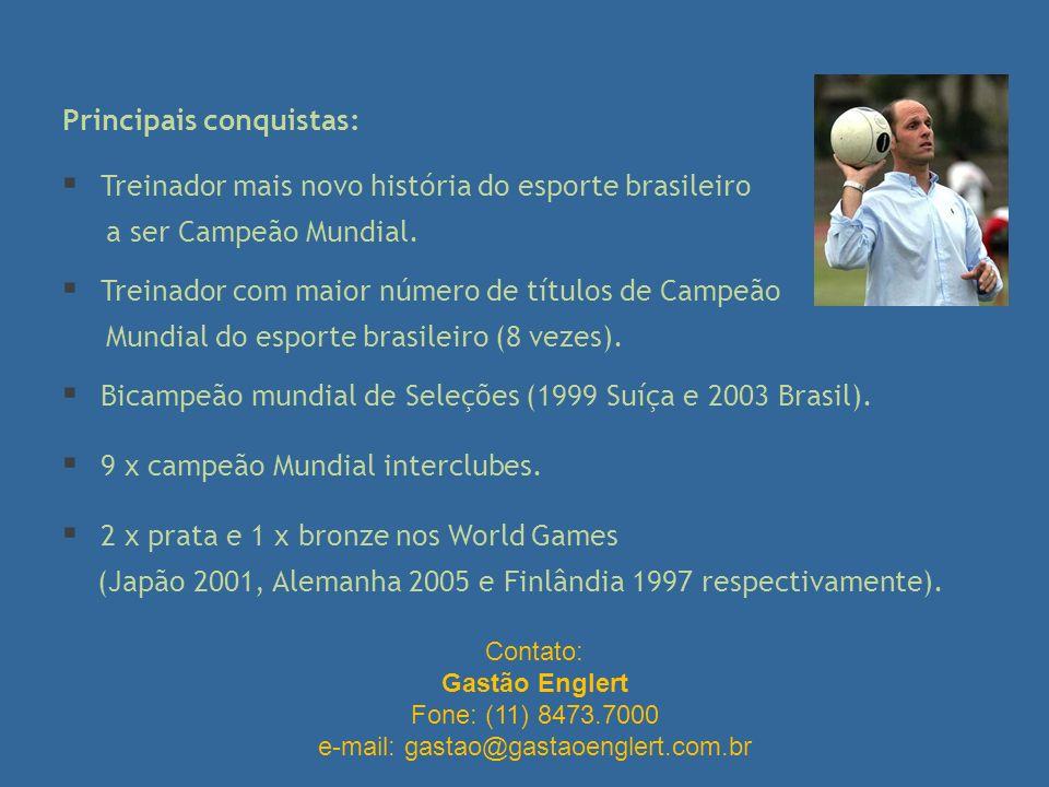 Principais conquistas: Treinador mais novo história do esporte brasileiro a ser Campeão Mundial. Treinador com maior número de títulos de Campeão Mund