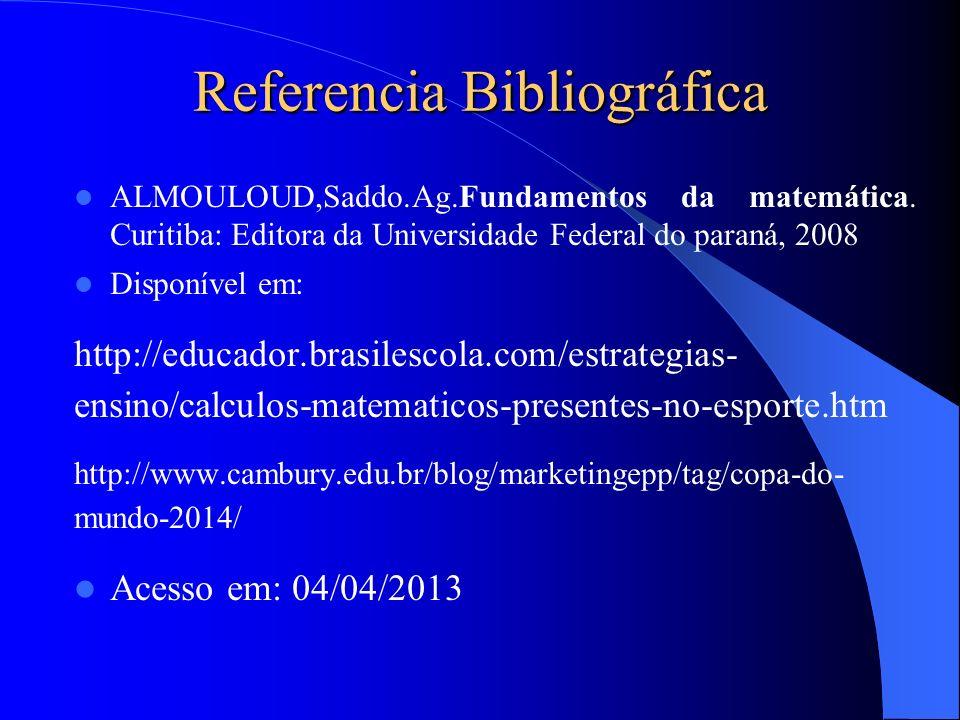 Referencia Bibliográfica ALMOULOUD,Saddo.Ag.Fundamentos da matemática. Curitiba: Editora da Universidade Federal do paraná, 2008 Disponível em: http:/