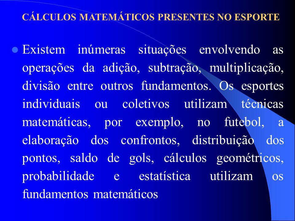 CÁLCULOS MATEMÁTICOS PRESENTES NO ESPORTE Existem inúmeras situações envolvendo as operações da adição, subtração, multiplicação, divisão entre outros fundamentos.