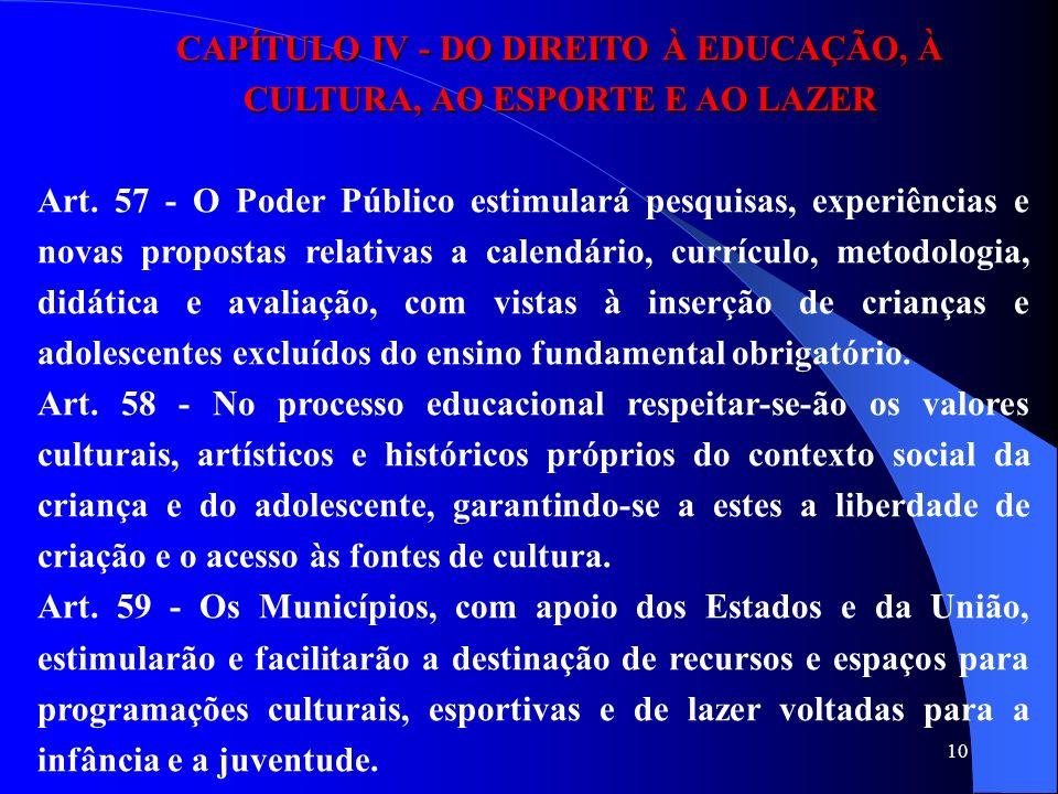 10 CAPÍTULO IV - DO DIREITO À EDUCAÇÃO, À CULTURA, AO ESPORTE E AO LAZER Art. 57 - O Poder Público estimulará pesquisas, experiências e novas proposta
