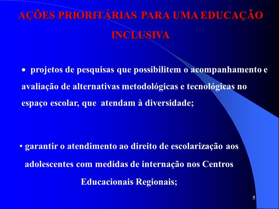 5 AÇÕES PRIORITÁRIAS PARA UMA EDUCAÇÃO INCLUSIVA projetos de pesquisas que possibilitem o acompanhamento e avaliação de alternativas metodológicas e t