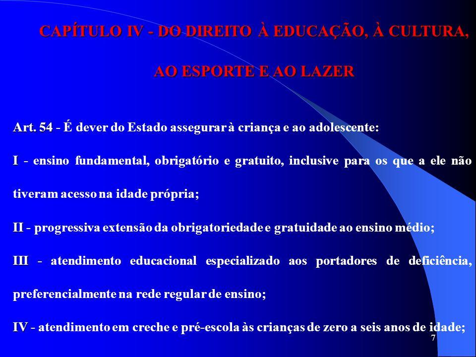 7 CAPÍTULO IV - DO DIREITO À EDUCAÇÃO, À CULTURA, AO ESPORTE E AO LAZER Art. 54 Art. 54 - É dever do Estado assegurar à criança e ao adolescente: I I