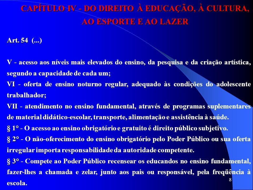 8 CAPÍTULO IV - DO DIREITO À EDUCAÇÃO, À CULTURA, AO ESPORTE E AO LAZER Art. 54 Art. 54 (...) V - acesso aos níveis mais elevados do ensino, da pesqui
