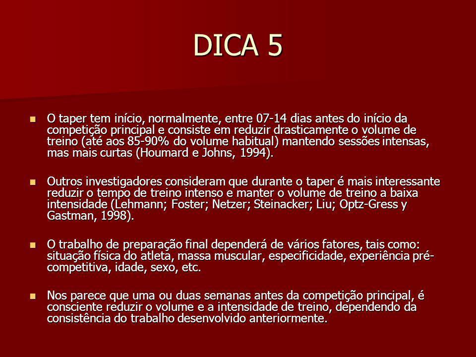 DICA 4 A diminuição da intensidade de treino poderá ser acompanhada de uma melhoria da marca desportiva.