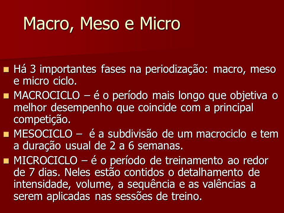 Macro, Meso e Micro Há 3 importantes fases na periodização: macro, meso e micro ciclo.