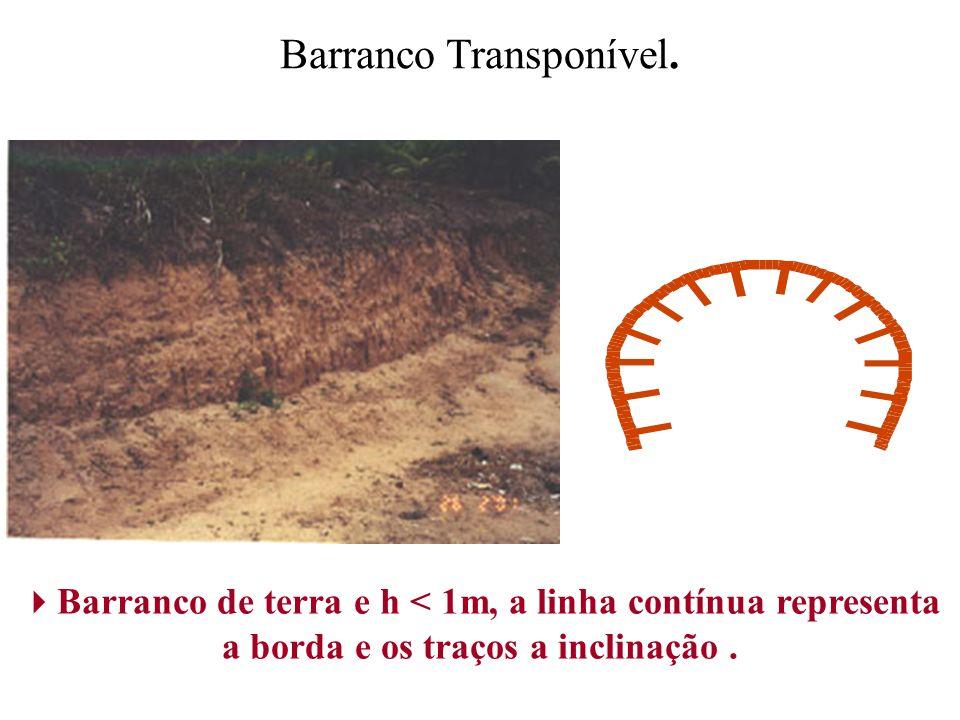 Barranco Transponível. Barranco de terra e h < 1m, a linha contínua representa a borda e os traços a inclinação.