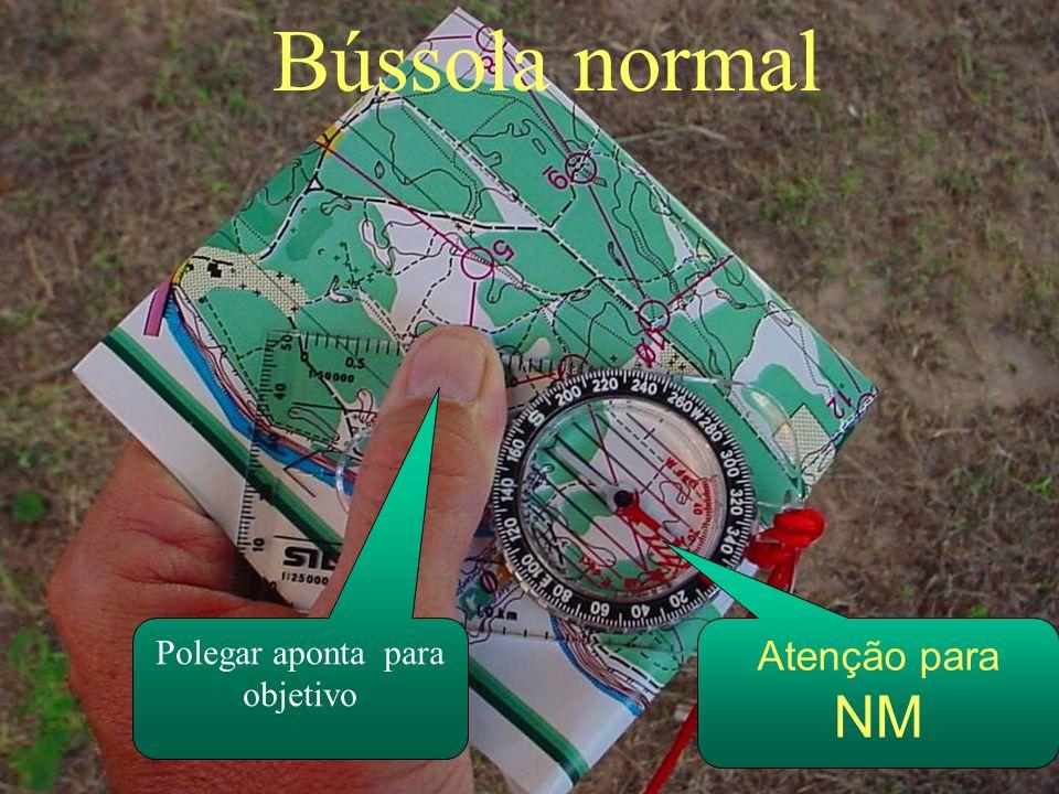 Bússola normal Atenção para NM Polegar aponta para objetivo