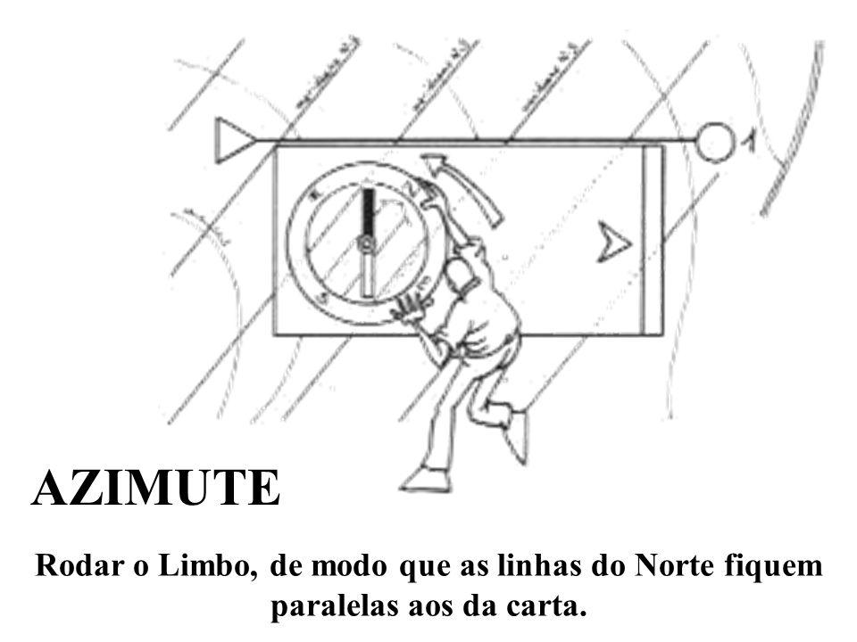 Rodar o Limbo, de modo que as linhas do Norte fiquem paralelas aos da carta. AZIMUTE