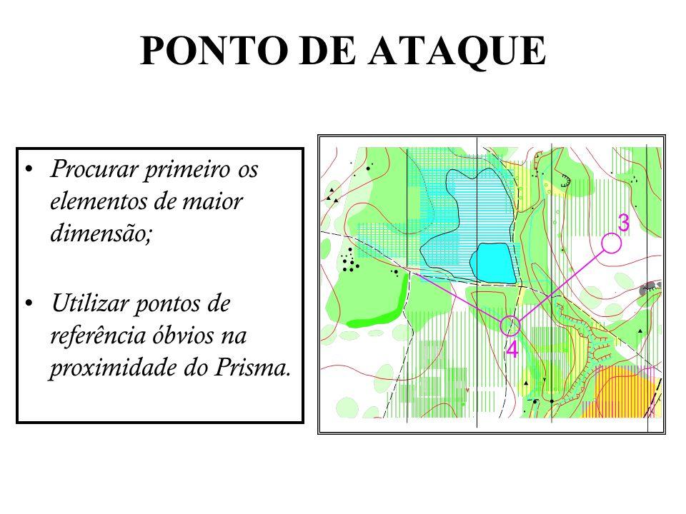 Procurar primeiro os elementos de maior dimensão; Utilizar pontos de referência óbvios na proximidade do Prisma. PONTO DE ATAQUE