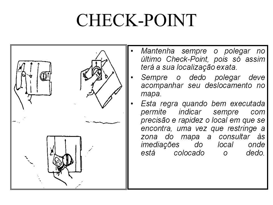 Mantenha sempre o polegar no último Check-Point, pois só assim terá a sua localização exata. Sempre o dedo polegar deve acompanhar seu deslocamento no