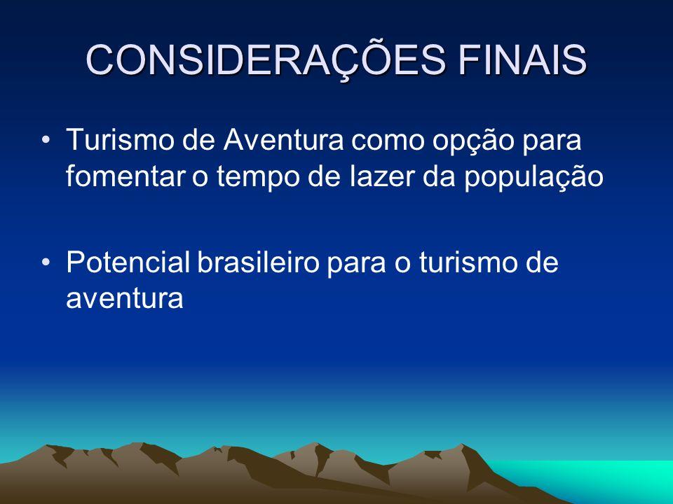 CONSIDERAÇÕES FINAIS Turismo de Aventura como opção para fomentar o tempo de lazer da população Potencial brasileiro para o turismo de aventura