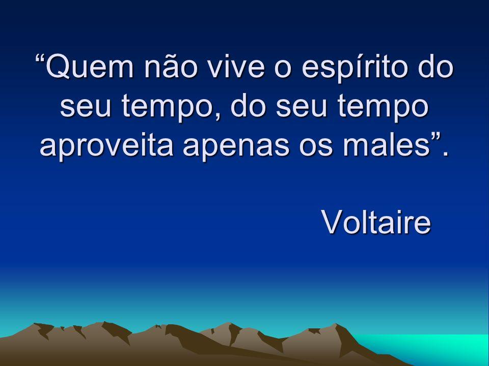 Quem não vive o espírito do seu tempo, do seu tempo aproveita apenas os males. Voltaire