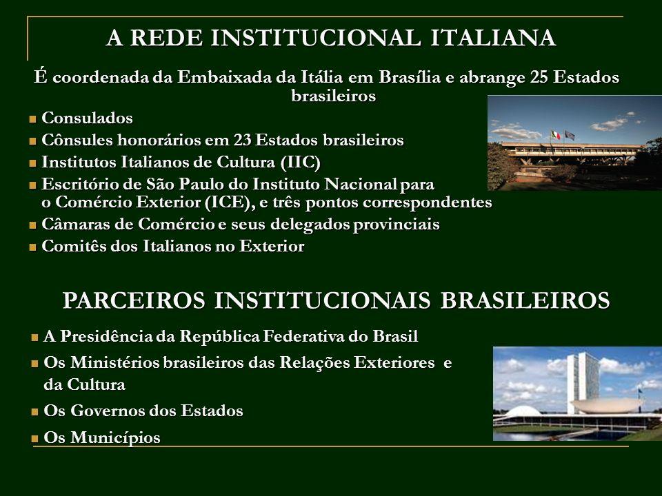 A REDE INSTITUCIONAL ITALIANA É coordenada da Embaixada da Itália em Brasília e abrange 25 Estados brasileiros Consulados Consulados Cônsules honorári
