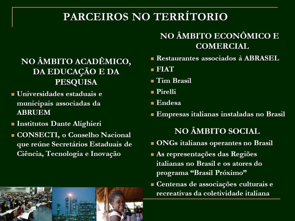 PARCEIROS NO TERRÍTORIO NO ÂMBITO ACADÊMICO, DA EDUCAÇÃO E DA PESQUISA NO ÂMBITO ACADÊMICO, DA EDUCAÇÃO E DA PESQUISA Universidades estaduais e munici