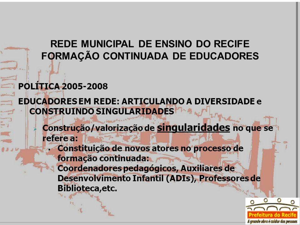 POLÍTICA 2005-2008 EDUCADORES EM REDE: ARTICULANDO A DIVERSIDADE e CONSTRUINDO SINGULARIDADES Construção/valorização de singularidades no que se refer