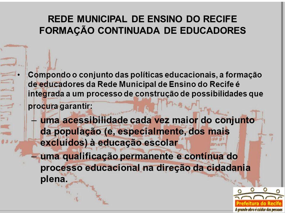 Compondo o conjunto das políticas educacionais, a formação de educadores da Rede Municipal de Ensino do Recife é integrada a um processo de construção de possibilidades que procura garantir: –uma acessibilidade cada vez maior do conjunto da população (e, especialmente, dos mais excluídos) à educação escolar –uma qualificação permanente e contínua do processo educacional na direção da cidadania plena.