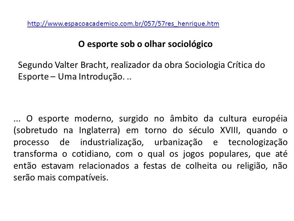 O esporte sob o olhar sociológico http://www.espacoacademico.com.br/057/57res_henrique.htm... O esporte moderno, surgido no âmbito da cultura européia