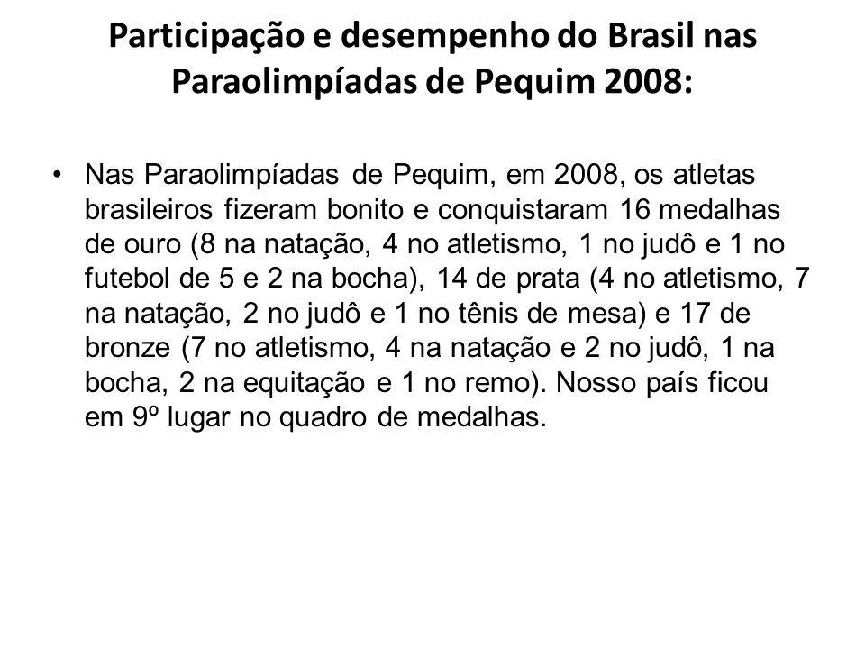 Participação e desempenho do Brasil nas Paraolimpíadas de Pequim 2008: Nas Paraolimpíadas de Pequim, em 2008, os atletas brasileiros fizeram bonito e