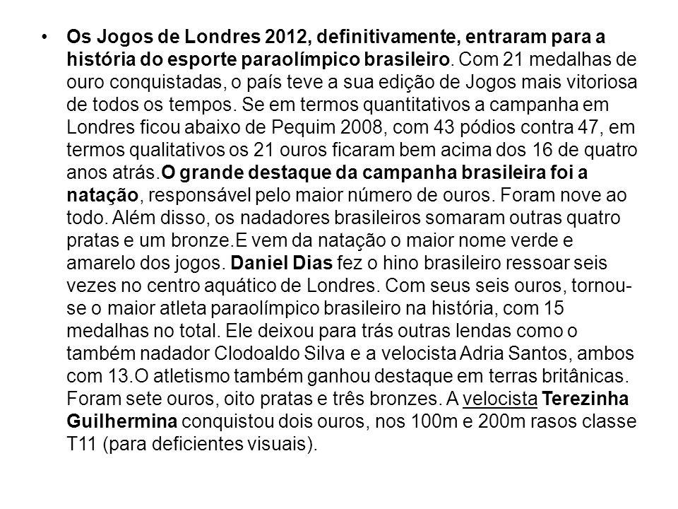 Os Jogos de Londres 2012, definitivamente, entraram para a história do esporte paraolímpico brasileiro. Com 21 medalhas de ouro conquistadas, o país t