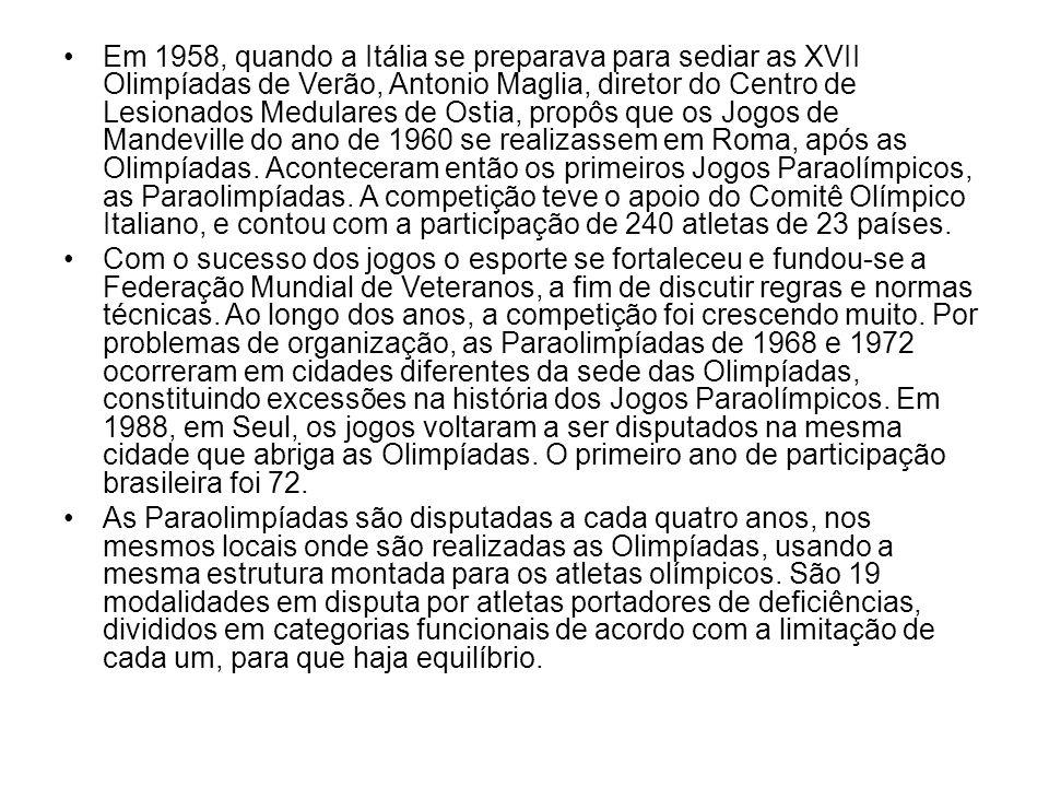 Em 1958, quando a Itália se preparava para sediar as XVII Olimpíadas de Verão, Antonio Maglia, diretor do Centro de Lesionados Medulares de Ostia, pro