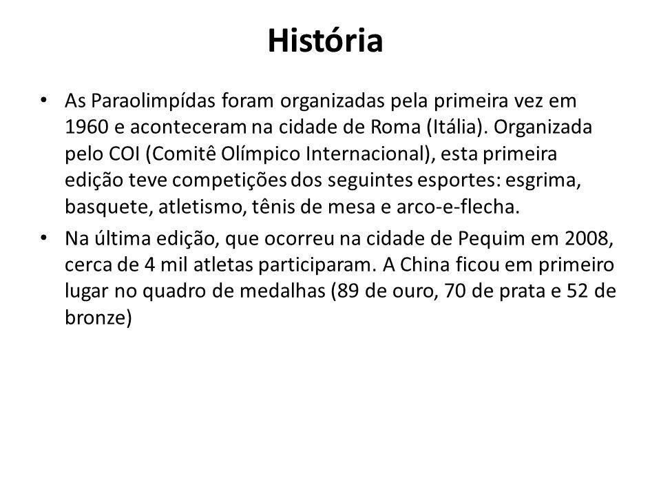 História As Paraolimpídas foram organizadas pela primeira vez em 1960 e aconteceram na cidade de Roma (Itália). Organizada pelo COI (Comitê Olímpico I
