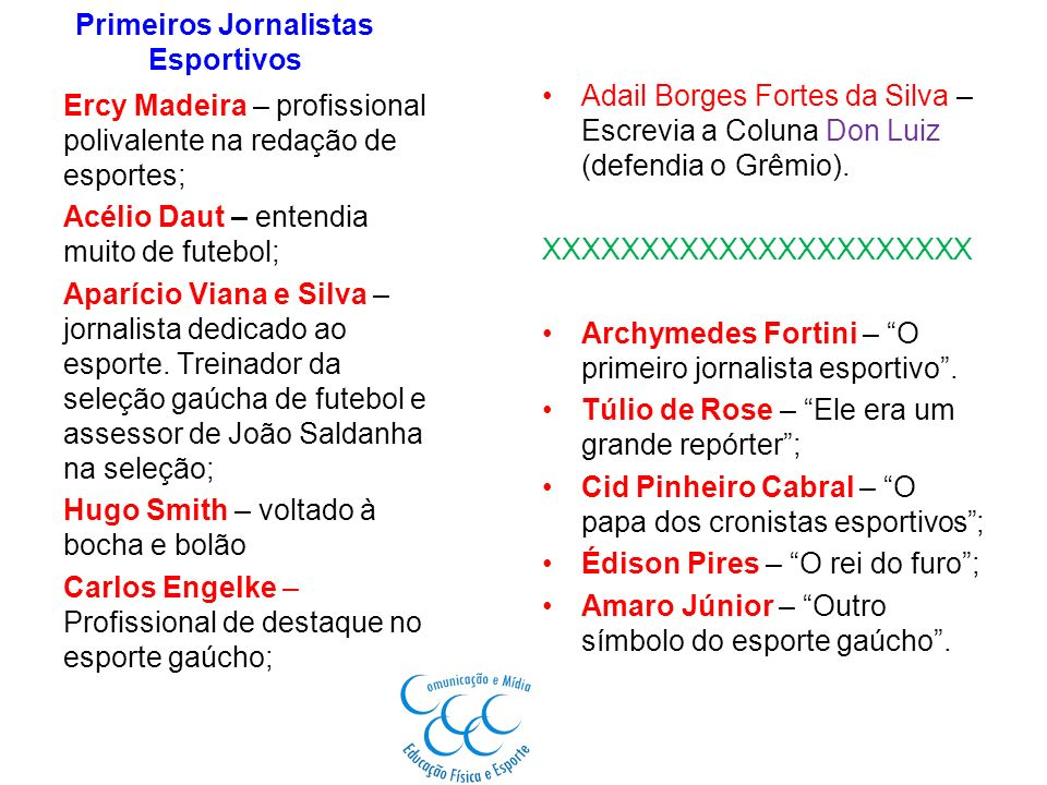 Primeiros Jornalistas Esportivos Adail Borges Fortes da Silva – Escrevia a Coluna Don Luiz (defendia o Grêmio). XXXXXXXXXXXXXXXXXXXXXX Archymedes Fort