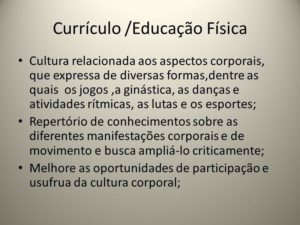 Currículo /Educação Física Cultura relacionada aos aspectos corporais, que expressa de diversas formas,dentre as quais os jogos,a ginástica, as danças