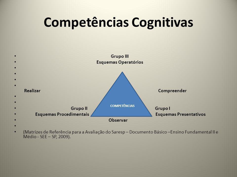 Competências Cognitivas Grupo III Esquemas Operatórios Realizar Compreender Grupo II REALIZAR Grupo I Esquemas Procedimentais Esquemas Presentativos O