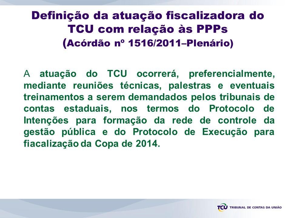 Definição da atuação fiscalizadora do TCU com relação às PPPs ( Acórdão nº 1516/2011–Plenário) A atuação do TCU ocorrerá, preferencialmente, mediante reuniões técnicas, palestras e eventuais treinamentos a serem demandados pelos tribunais de contas estaduais, nos termos do Protocolo de Intenções para formação da rede de controle da gestão pública e do Protocolo de Execução para fiacalização da Copa de 2014.