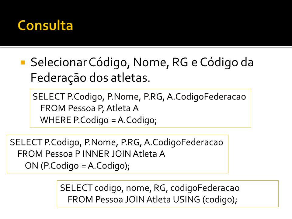 Selecionar Código, Nome, RG e Código da Federação dos atletas.
