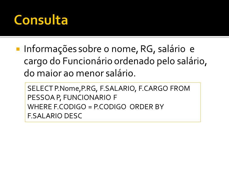 Informações sobre o nome, RG, salário e cargo do Funcionário ordenado pelo salário, do maior ao menor salário.