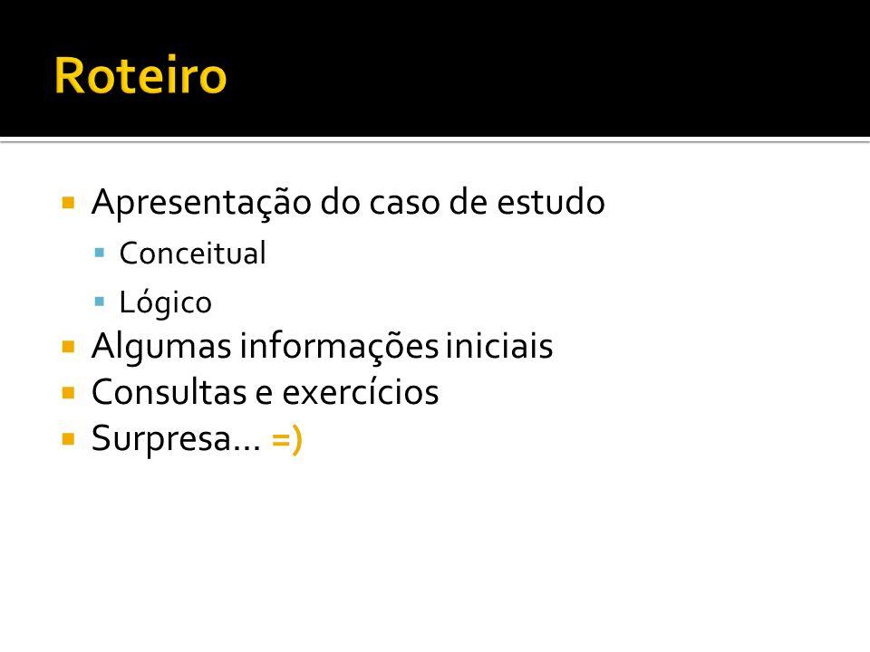 Apresentação do caso de estudo Conceitual Lógico Algumas informações iniciais Consultas e exercícios Surpresa...