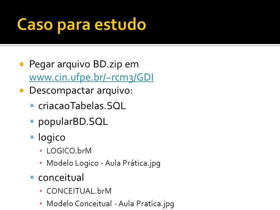 Pegar arquivo BD.zip em www.cin.ufpe.br/~rcm3/GDI www.cin.ufpe.br/~rcm3/GDI Descompactar arquivo: criacaoTabelas.SQL popularBD.SQL logico LOGICO.brM Modelo Logico - Aula Prática.jpg conceitual CONCEITUAL.brM Modelo Conceitual - Aula Pratica.jpg