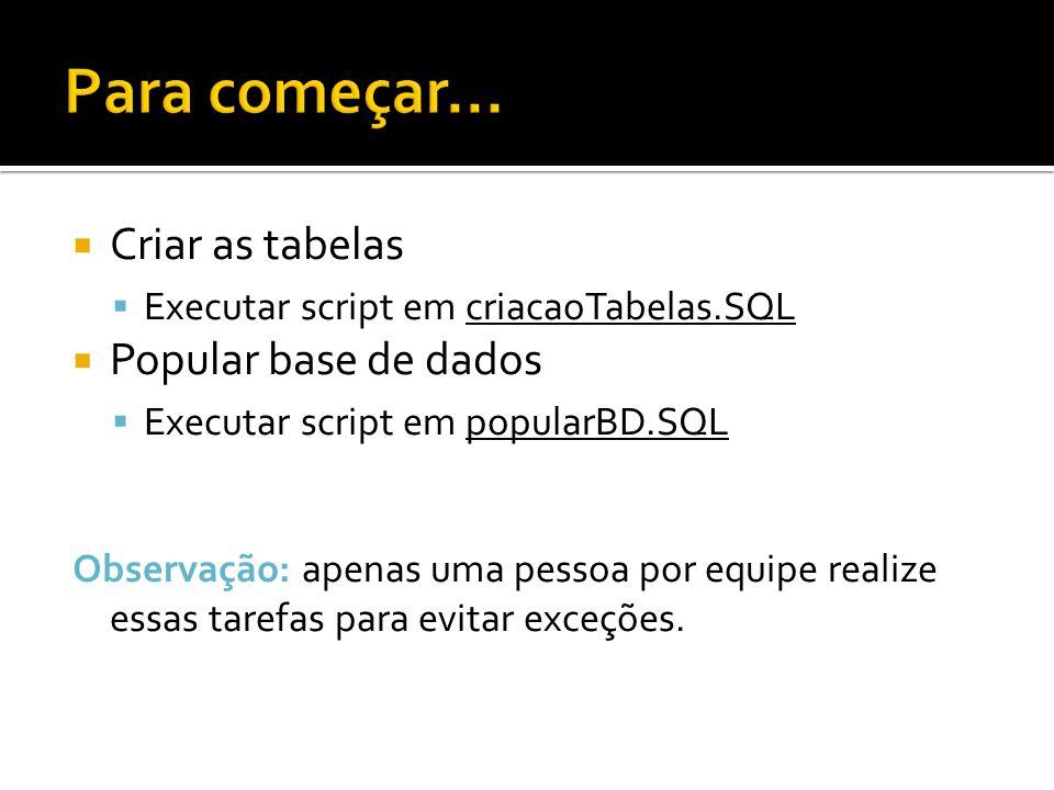 Criar as tabelas Executar script em criacaoTabelas.SQL Popular base de dados Executar script em popularBD.SQL Observação: apenas uma pessoa por equipe realize essas tarefas para evitar exceções.