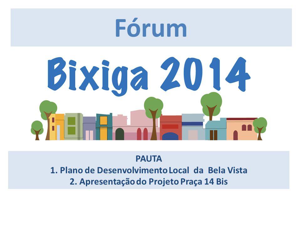 PAUTA 1. Plano de Desenvolvimento Local da Bela Vista 2. Apresentação do Projeto Praça 14 Bis IIII Fórum