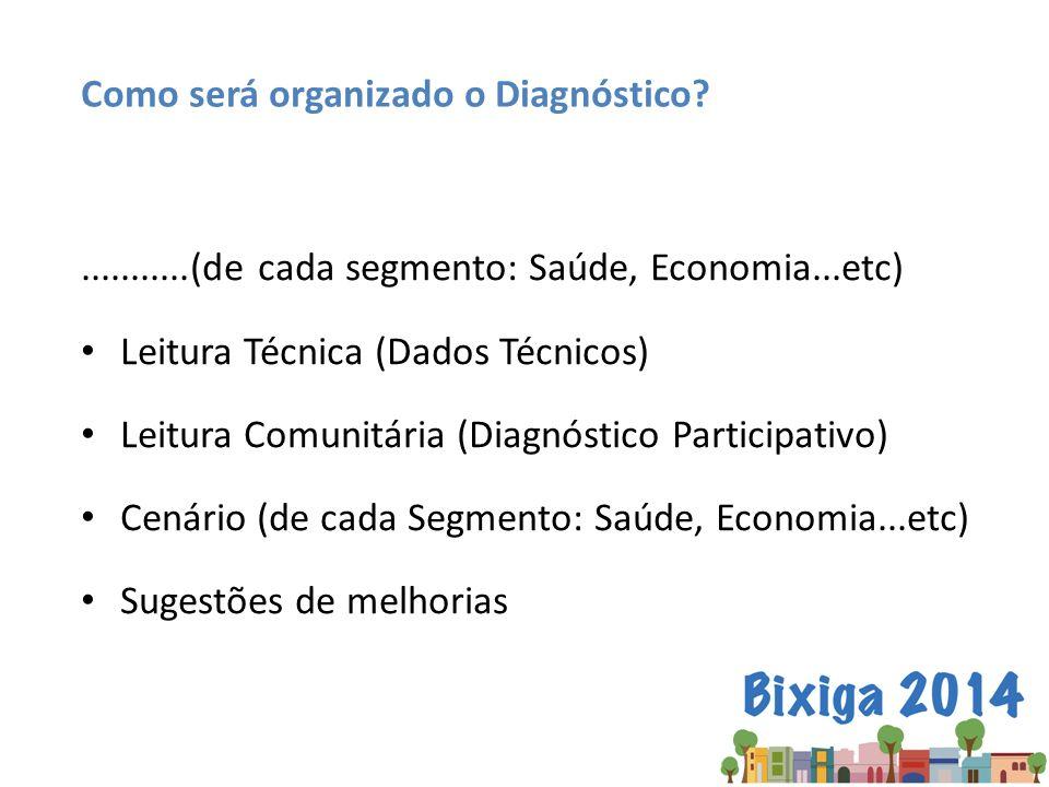 ...........(de cada segmento: Saúde, Economia...etc) Leitura Técnica (Dados Técnicos) Leitura Comunitária (Diagnóstico Participativo) Cenário (de cada