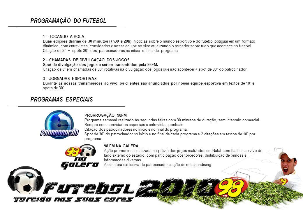 1 – TOCANDO A BOLA Duas edições diárias de 30 minutos (7h30 e 20h). Notícias sobre o mundo esportivo e do futebol potiguar em um formato dinâmico, com