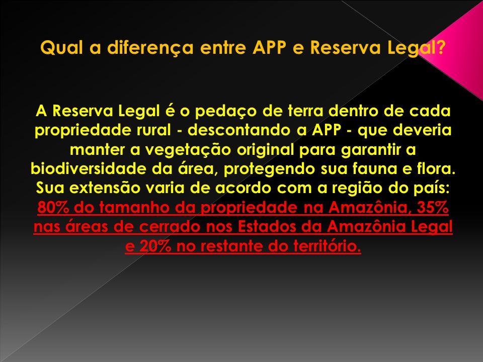Qual a diferença entre APP e Reserva Legal.