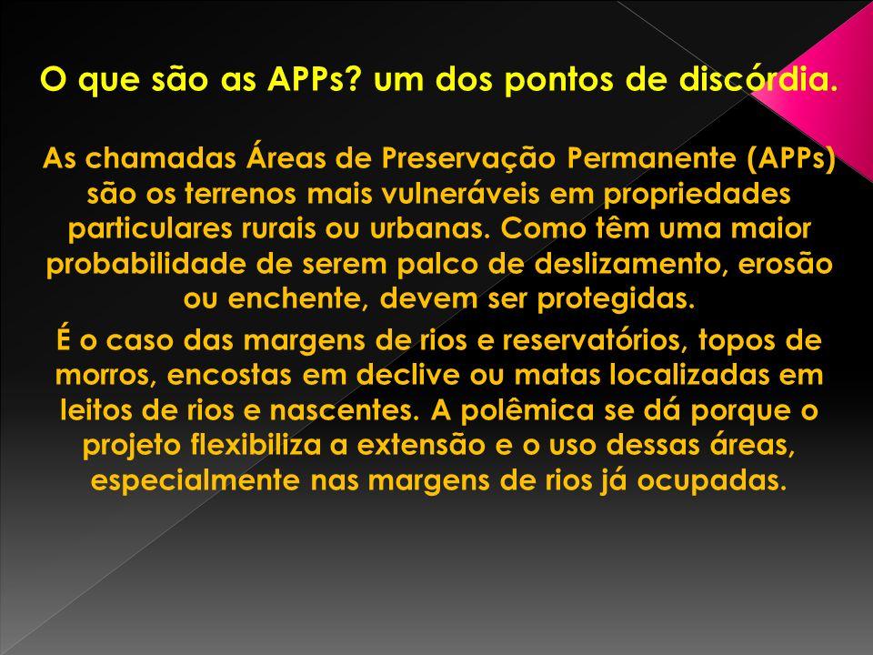 O que são as APPs. um dos pontos de discórdia.