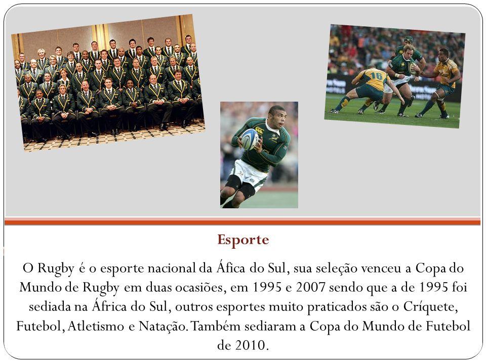 Esporte O Rugby é o esporte nacional da Áfica do Sul, sua seleção venceu a Copa do Mundo de Rugby em duas ocasiões, em 1995 e 2007 sendo que a de 1995