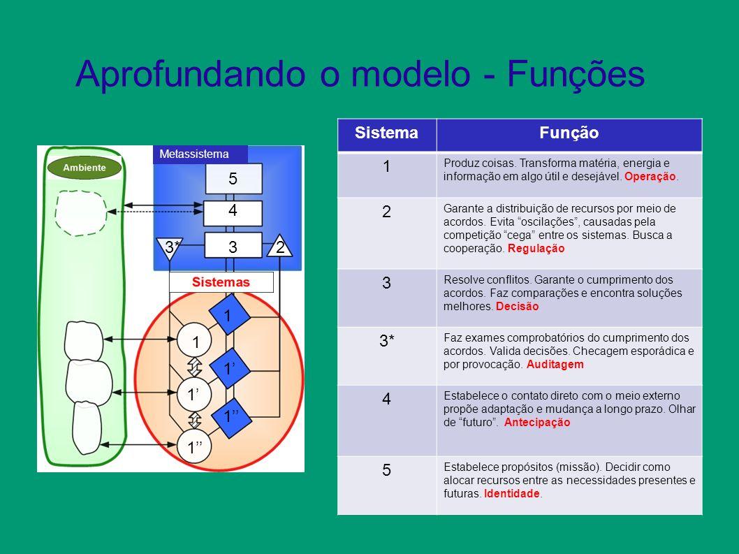 Aprofundando o modelo - Funções Metassistema 1 1 1 233* 4 5 SistemaFunção 1 Produz coisas.