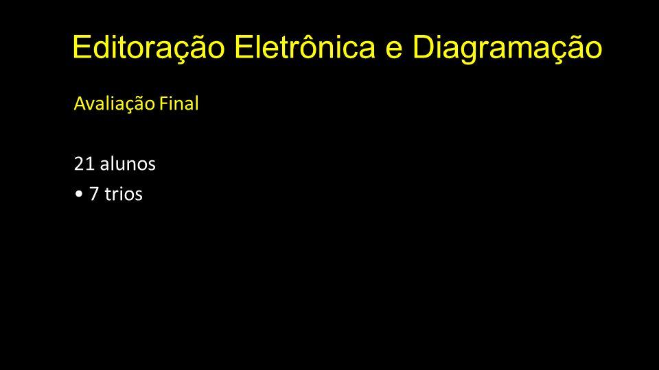 Editoração Eletrônica e Diagramação Avaliação Final 21 alunos 7 trios