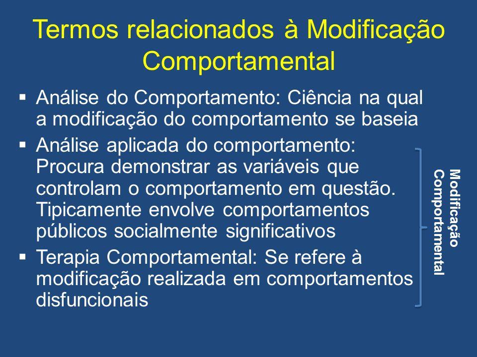 Termos relacionados à Modificação Comportamental Análise do Comportamento: Ciência na qual a modificação do comportamento se baseia Análise aplicada d