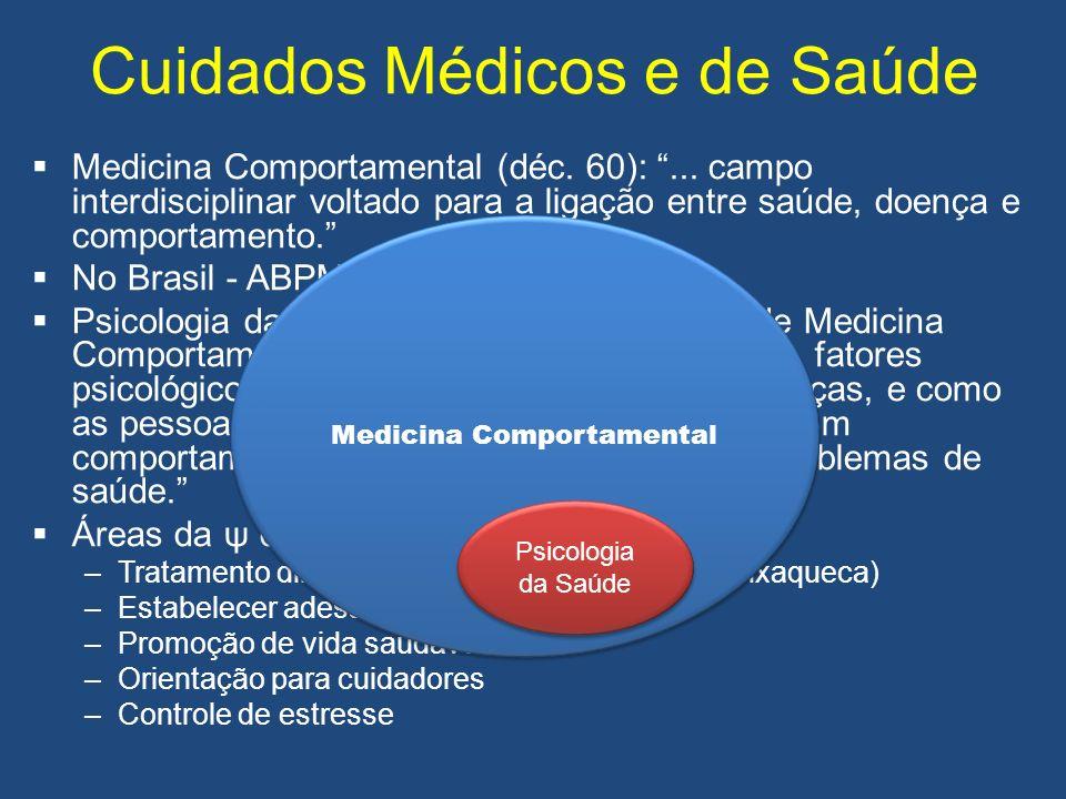 Cuidados Médicos e de Saúde Medicina Comportamental (déc. 60):... campo interdisciplinar voltado para a ligação entre saúde, doença e comportamento. N