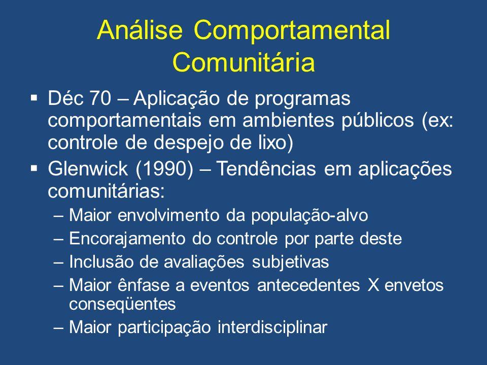 Análise Comportamental Comunitária Déc 70 – Aplicação de programas comportamentais em ambientes públicos (ex: controle de despejo de lixo) Glenwick (1