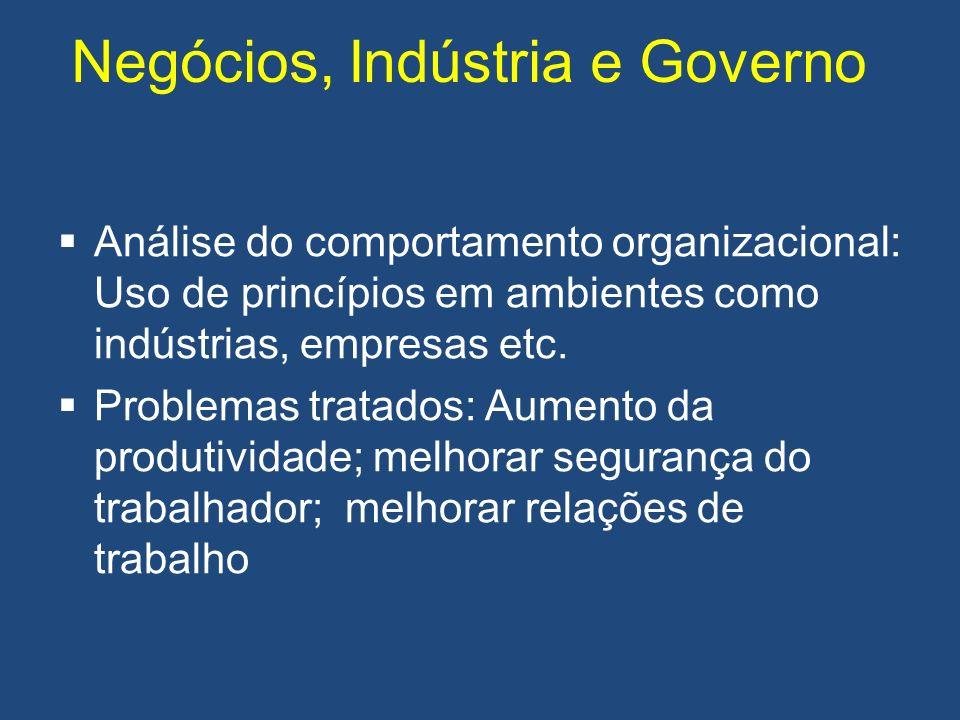 Negócios, Indústria e Governo Análise do comportamento organizacional: Uso de princípios em ambientes como indústrias, empresas etc. Problemas tratado