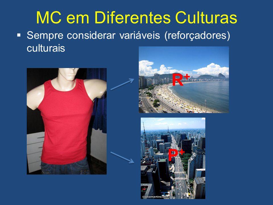 MC em Diferentes Culturas Sempre considerar variáveis (reforçadores) culturais R+R+ P+P+