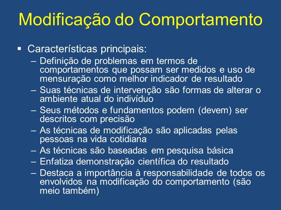 Modificação do Comportamento Características principais: –Definição de problemas em termos de comportamentos que possam ser medidos e uso de mensuraçã