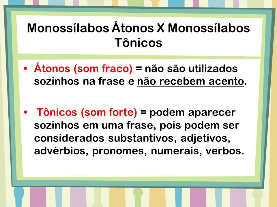 Monossílabos Átonos X Monossílabos Tônicos Átonos (som fraco) = não são utilizados sozinhos na frase e não recebem acento. Tônicos (som forte) = podem
