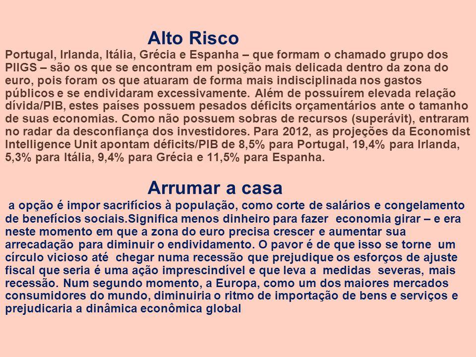 Alto Risco Portugal, Irlanda, Itália, Grécia e Espanha – que formam o chamado grupo dos PIIGS – são os que se encontram em posição mais delicada dentro da zona do euro, pois foram os que atuaram de forma mais indisciplinada nos gastos públicos e se endividaram excessivamente.